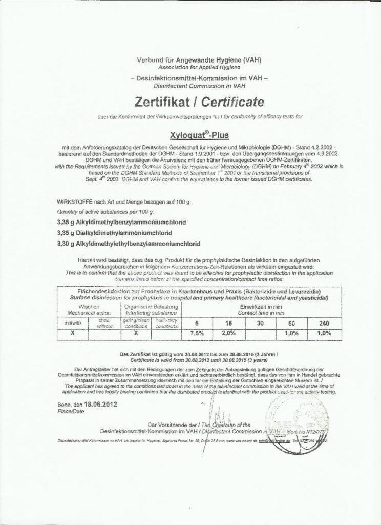 Zertifikat Krankenhausdesinfektion